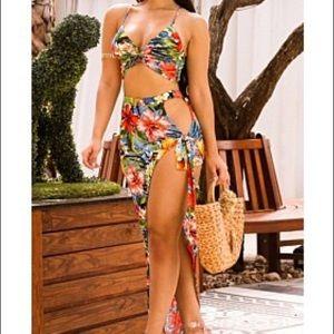 Tropical Floral Print Swim Wear